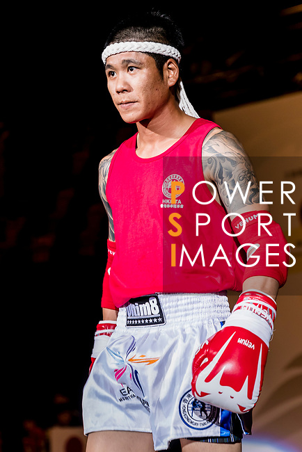 Sun Chih Chin (Red) of Taiwan enters the ring prior the male muay 67KG division weight bout against Momma Yusuke (Not in picture) of Japan during the East Asian Muaythai Championships 2017 at the Queen Elizabeth Stadium on 11 August 2017, in Hong Kong, China. Photo by Yu Chun Christopher Wong / Power Sport Images