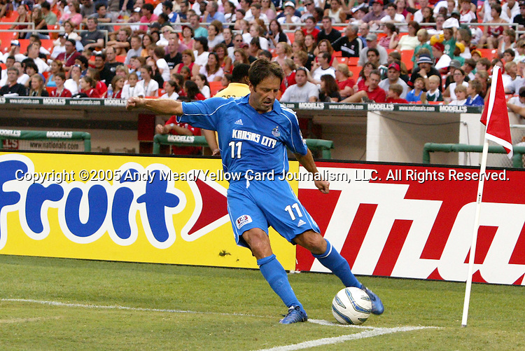 9 July 2005: Preki takes a corner kick. The Kansas City Wizards defeated DC United 1-0 at RFK Stadium in Washington, DC in a regular season Major League Soccer game. .