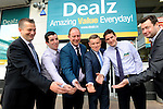 FREE PIC - NO REPRO FEE<br /> 24/09/2015 - Blackpool, Cork<br /> Senior staff members,from left: Ben Dawe, Christopher O'Dowd, Owen Callaghan, David Ginnifer, Stephen Cotter and Sean Hennessy at the official opening of the new Dealz store at Blackpool Retail Park, Cork.<br /> Pic: Brian Lougheed