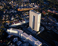 aerial photograph of Arcos Bosques tower, El Pantalón, Interlomas, Mexico City