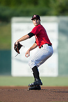 Kannapolis Intimidators starting pitcher Dylan Cease (2) in action against the Greenville Drive at Kannapolis Intimidators Stadium on August 9, 2017 in Kannapolis, North Carolina.  The Drive defeated the Intimidators 6-1.  (Brian Westerholt/Four Seam Images)