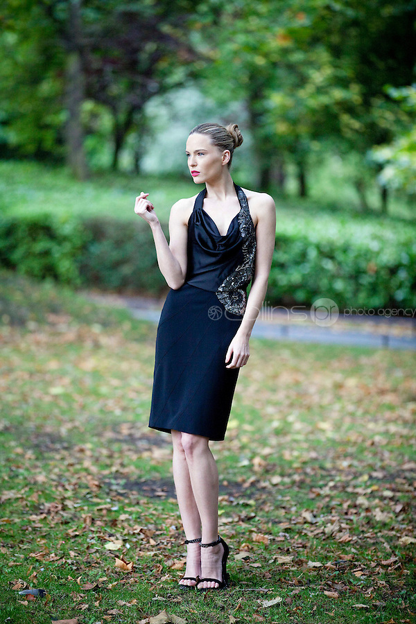 30/9/2010. Karen Millen Autumn Winter 2010 Christmas collection. Model Sarah Morrissey is pictured wearing a black silk halterneck dress EUR235 and Chain platform shoes EUR199  at a sneak preview of the Karen Millen Autumn Winter 2010 Christmas collection in Dublin. Picture James Horan/Collins Photos