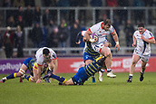 9th December 2017, AJ Bell Stadium, Salford, England; European Rugby Challenge Cup, Sale Sharks versus Cardiff Blues; Sale Sharks' WillGriff John is tackled