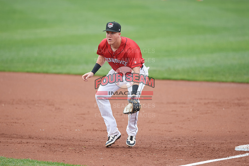 Erie SeaWolves first baseman Josh Lester (17) during an Eastern League game against the Akron RubberDucks on June 2, 2019 at UPMC Park in Erie, Pennsylvania.  Akron defeated Erie 7-2 in the first game of a doubleheader.  (Mike Janes/Four Seam Images)