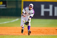 High Point Panthers third baseman Adam Barry (29) charges a ground ball during the game against the Ohio Bobcats at Willard Stadium on March 6, 2013 in High Point, North Carolina.  The Panthers defeated the Bobcats 4-1.  (Brian Westerholt/Four Seam Images)