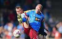 Bolton Wanderers' David Wheater vies for possession with Scunthorpe United's Neil Bishop<br /> <br /> Photographer Chris Vaughan/CameraSport<br /> <br /> The EFL Sky Bet League One - Scunthorpe United v Bolton Wanderers - Saturday 8th April 2017 - Glanford Park - Scunthorpe<br /> <br /> World Copyright &copy; 2017 CameraSport. All rights reserved. 43 Linden Ave. Countesthorpe. Leicester. England. LE8 5PG - Tel: +44 (0) 116 277 4147 - admin@camerasport.com - www.camerasport.com