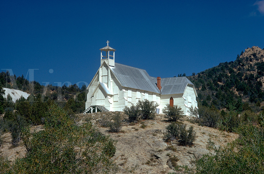 Catholic Church in old mining town. Silver City Idaho United States Owyhee Mountains.