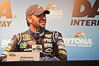 5-time Champion Jimmie Johnson talks to the media during NASCAR Sprint Cup winter testing at Daytona International Speedway, Daytona Beach, FL January 20, 2011.  (Photo by Brian Cleary/www.bcpix.com)