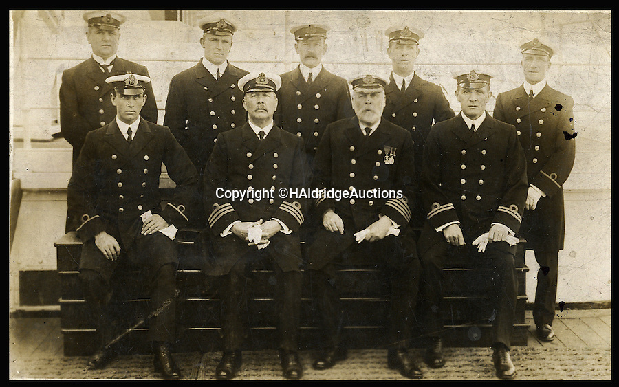 BNPS.co.uk (01202 558833)<br /> Pic: HAldridgeAuctions/BNPS<br /> <br /> Titanic's officer's, with James Moody front left.<br /> <br /> A shocking letter revealing the owners of the Titanic demanded huge sum's of money from the bereaved relatives to return the bodies of its dead crew has come to light on the 103rd anniversary of the disaster.<br /> <br /> The astonishing demands have emerged for the first time since the tragedy in a never-seen-before letter from bosses at White Star Line to the grieving family of James Moody, Titanic's sixth officer.<br /> <br /> Moody, 24, was among the 1,500 crew and passengers that perished when the ship sank after hitting an iceberg in the Atlantic on April 14 1912, two days into her maiden voyage.<br /> <br /> In the sensational letter written less than a month after the sinking, his brother Christopher was told his body could be transported from New York back to his home town of Scarborough at a cost of £20 - more than £2,000 in today's money.<br /> <br /> Experts say the two-page letter could make £25,000 when it goes under the hammer at Henry Aldridge and Son of Devizes, Wilts.
