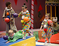 NWA Democrat-Gazette/ANDY SHUPE<br /> Circus clowns perform Thursday, May 9, 2019, during a performance of Farnahan's Circus at The New School in Fayetteville. The school has been performing the circus for pre-kindergarten students for 27 years.
