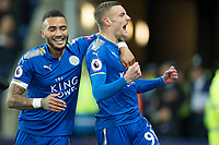 Jamie Vardy of Leicester City celebrates his goal during the Premier League match between Leicester City and Tottenham Hotspur at the King Power Stadium, Leicester, England on 28 November 2017. Photo by James Williamson / PRiME Media Images.