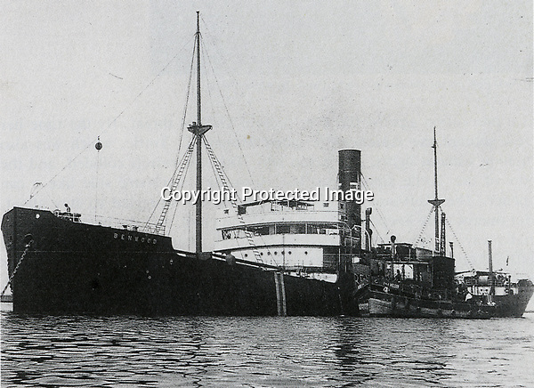 The steamship Benwood wrecked on the reef off Key Largo after she collided with the tanker Robert C. Tuttle on April 9, 1942. Monroe County Library Collection.