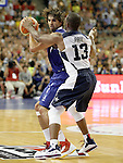 Spain's Victor Sada (l) and USA's Chris Paul during friendly match.July 24,2012. (ALTERPHOTOS/Acero)