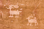 This rock art panel in Sego Canyon in Utah is made up mostly of Fremont-style petroglyphs, carved between 800 and 1,500 years ago.