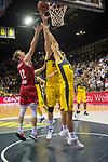 26.09.2019, EWE Arena, Oldenburg, GER, easy Credit-BBL, EWE Baskets Oldenburg vs s.Oliver Würzburg, im Bild<br /> Rasid MAHALBASIC (EWE Baskets Oldenburg #24 ) Braydon HOBBS (EWE Baskets Oldenburg #3 ) Skyler BOWLIN (s.Oliver Würzburg #12 )<br /> Foto © nordphoto / Rojahn