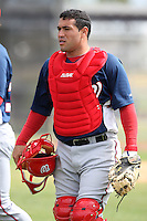 March 22, 2010:  Catcher Sandy Leon of the Washington Nationals organization during Spring Training at the Carl Barger Training Complex in Melbourne, FL.  Photo By Mike Janes/Four Seam Images
