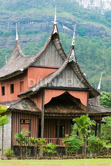 Classic Minangkabau-style house behind the Pagaruyung Palace, Batusangkar, West Sumatra.