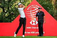 Haotong Li (CHN) watched by Phil Mickelson (USA) on the 9th tee during round 1 at the WGC HSBC Champions, Sheshan Golf Club, Shanghai, China. 31/10/2019.<br /> Picture Fran Caffrey / Golffile.ie<br /> <br /> All photo usage must carry mandatory copyright credit (© Golffile | Fran Caffrey)