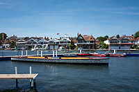 """Henley on Thames, United Kingdom, 2nd July 2018, Monday,   """"Henley Royal Regatta"""",  view, Practice day, at Henley, """"in preparation"""",  for the start of the """"Annual Royal Regatta"""" on Wednesday 4th July, Henley Reach, River Thames, Thames Valley, England, © Peter SPURRIER/Alamy Live News,/Alamy Live News,"""
