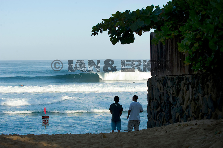 Early morning check of the surf at Backdoor on the Northshore of Oahu in Hawaii.