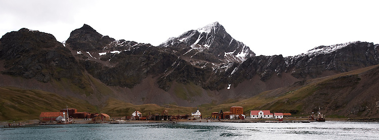 Grytviken, the principal settlement in South Georgia, a former whaling station and now a base of the British Antarctic survey