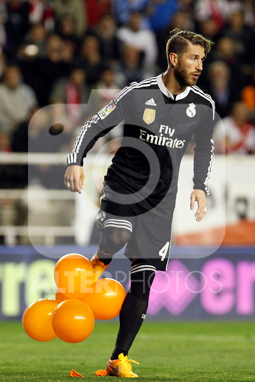 Sergio Ramos of Real Madrid during La Liga match between Rayo Vallecano and Real Madrid at Vallecas Stadium in Madrid, Spain. April 08, 2015. (ALTERPHOTOS/Caro Marin)