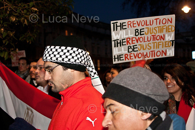 London, 31/01/2011. Egyptian people protest peacefully outside Hosni Mubarak's house in London. The protesters ask President Mubarak to resign, and demand an immediate stop to violence against citizens in Egypt.