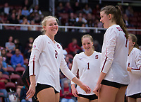STANFORD, CA - November 15, 2017: Kathryn Plummer, Jenna Gray, Merete Lutz, Meghan McClure at Maples Pavilion. The Stanford Cardinal defeated USC 3-0 to claim the Pac-12 conference title.