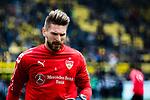 09.03.2019, Signal Iduna Park, Dortmund, GER, 1.FBL, Borussia Dortmund vs VfB Stuttgart, DFL REGULATIONS PROHIBIT ANY USE OF PHOTOGRAPHS AS IMAGE SEQUENCES AND/OR QUASI-VIDEO<br /> <br /> im Bild   picture shows:<br /> Ron-Robert Zieler (VfB Stuttgart #1) w&auml;rmt sich auf, <br /> <br /> Foto &copy; nordphoto / Rauch