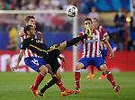 Vicente calderon Stadium. Madrid. Spain. 09/04/2014. Match between Barcelona and Atletico Madrid, Champions League. The image shows: Dani Alves.