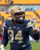 Pitt defensive lineman Amir Watts. The Pitt Panthers football team defeated the Duke Blue Devils 54-45 on November 10, 2018 at Heinz Field, Pittsburgh, Pennsylvania.