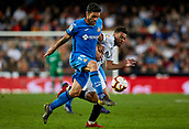 17th March 2019, Mestalla Stadium, Valencia, Spain; La Liga football, Valencia versus Getafe; Jorge Molina of Getafe challenges with Francis Coquelin of Valencia CF