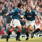 Rangers v Motherwell 27.9.97:  Sergio Porrini and Marco Negri celebrate after scoring