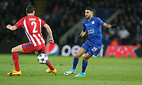 Leicester City's Riyad Mahrez and Atletico Madrid's Diego Godin<br /> <br /> Photographer Stephen White/CameraSport<br /> <br /> UEFA Champions League Quarter Final Second Leg - Leicester City v Atletico Madrid - Tuesday 18th April 2017 - King Power Stadium - Leicester <br />  <br /> World Copyright &copy; 2017 CameraSport. All rights reserved. 43 Linden Ave. Countesthorpe. Leicester. England. LE8 5PG - Tel: +44 (0) 116 277 4147 - admin@camerasport.com - www.camerasport.com