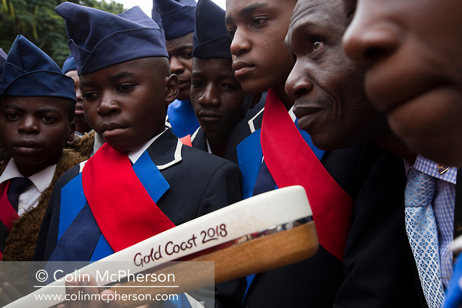 The Queen's Baton attended events in Lusaka, Zambia on April 25, 2017, on the first full day in the country including an official ceremony to start the Relay, a visit to East Park shopping mall and to the Lusaka International Community School. This Queen's Baton Relay will visit all 70 nations and territories of the Commonwealth, over 388 days and cover 230,000km. It will be the longest Relay in Commonwealth Games history, finishing at the Opening Ceremony on the Gold Coast on 4th April 2018. Photo shows members of a musical band examining the Baton before the Relay through the city commences.