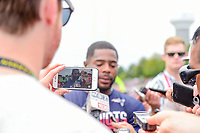 August 7, 2017: New England Patriots cornerback Malcolm Butler (21) is recorded on a cell phone during a press conference at a joint practice at New England Patriots training camp where they hosted the Jacksonville Jaguars on the practice fields at Gillette Stadium, in Foxborough, Massachusetts. Eric Canha/CSM