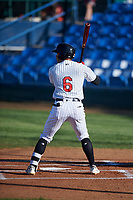 Great Falls Voyagers Luis Curbelo (6) at bat during a Pioneer League game against the Missoula Osprey at Centene Stadium at Legion Park on August 19, 2019 in Great Falls, Montana. Missoula defeated Great Falls 4-1 in the first game of a doubleheader. Games were moved from Missoula after Ogren Park at Allegiance Field, the Osprey's home field, was ruled unplayable. (Zachary Lucy/Four Seam Images)
