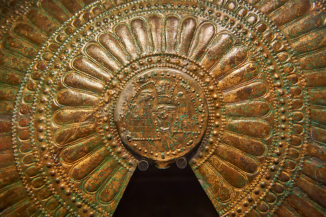 Detail of an rnamental Etruscan fans excavated from the Tomb of the Fans in Flabelli (Tomba dei Flabelli), late 7th - early 6th century B.C,   National Archaeological Museum Florence, Italy