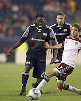 New England Revolution midfielder Shalrie Joseph (21) on the attack. In a Major League Soccer (MLS) match, the New England Revolution tied the Colorado Rapids, 0-0, at Gillette Stadium on May 7, 2011.