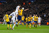 Tottenham Hotspur's Harry Kane has a header on goal (which is cleared off the line) <br /> <br /> Photographer Craig Mercer/CameraSport<br /> <br /> UEFA Champions League Round of 16 Second Leg - Tottenham Hotspur v Juventus - Wednesday 7th March 2018 - Wembley Stadium - London <br />  <br /> World Copyright &copy; 2017 CameraSport. All rights reserved. 43 Linden Ave. Countesthorpe. Leicester. England. LE8 5PG - Tel: +44 (0) 116 277 4147 - admin@camerasport.com - www.camerasport.com