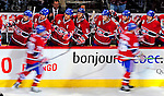 22 November 2008: The Montreal Canadiens bench celebrates a goal in the third period against the Boston Bruins at the Bell Centre in Montreal, Quebec, Canada.  After a 2-2 regulation tie and a non-scoring 5-minute overtime period, the Boston Bruins scored the lone shootout goal thus defeating the Canadiens 3-2. The Canadiens, celebrating their 100th season, honored former Montreal goaltender Patrick Roy, and retired his jersey (Number 33) during pre-game ceremonies. ***** Editorial Use Only *****..Mandatory Photo Credit: Ed Wolfstein Photo *** Editorial Sales through Icon Sports Media *** www.iconsportsmedia.com