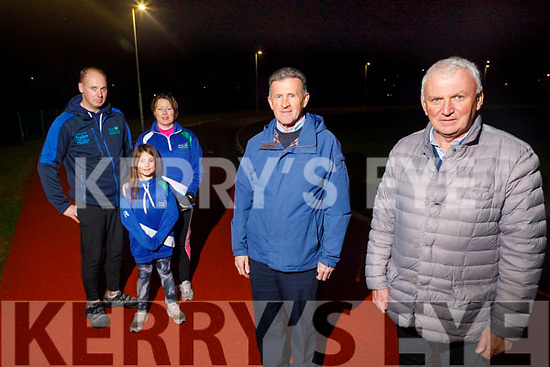 Members of the Tralee Harriers Club who received €25,900 towards the maintenance and development of the track.<br /> Front l to r: Sean O'Mahoney and Martin Fitzgerald (Chairman).<br /> Back l to r: Paul Griffin (PRO), Maura and Alannah Crossan.