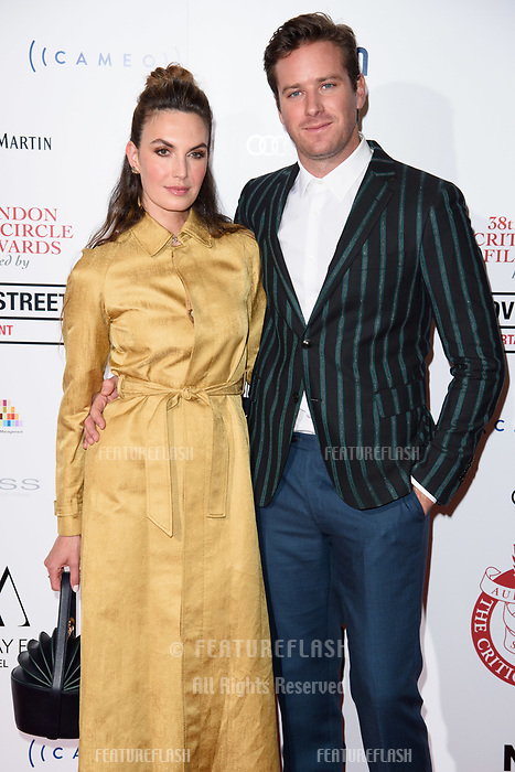 Elizabeth Chambers &amp; Armie Hamme at the 38th Annual London Critics' Circle Film Awards at the Mayfair Hotel, London, UK. <br /> 28 January  2018<br /> Picture: Steve Vas/Featureflash/SilverHub 0208 004 5359 sales@silverhubmedia.com