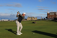 Eddie Pepperell (ENG) on the 18th tee during Round 3 of the Alfred Dunhill Links Championship 2019 at St. Andrews Golf CLub, Fife, Scotland. 28/09/2019.<br /> Picture Thos Caffrey / Golffile.ie<br /> <br /> All photo usage must carry mandatory copyright credit (© Golffile | Thos Caffrey)