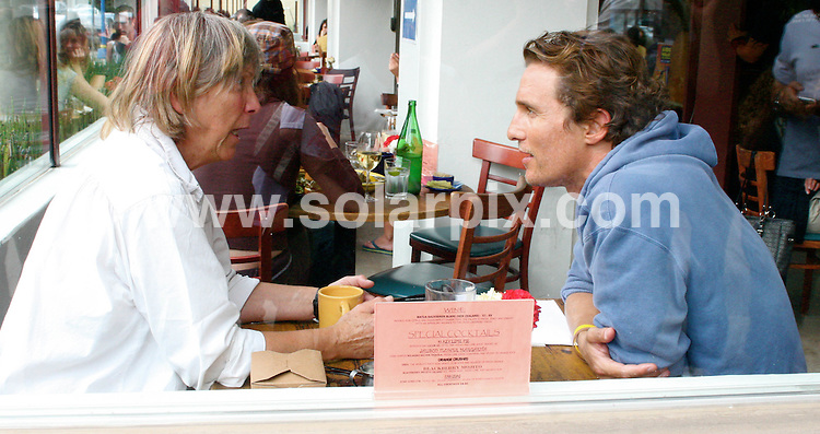 **ALL ROUND PICTURES FROM SOLARPIX.COM**.**WORLDWIDE SYNDICATION RIGHTS EXCEPT FOR USA, AUSTRALIA & GERMANY**.The American Hollywood actor Matthew McConaughey ate lunch with his mother at Newsroom in West Hollywood Los Angeles California in the USA..This pic:Matthew McConaughey and his mother....JOB REF:7317- LAS       DATE:12_09_08.**MUST CREDIT SOLARPIX.COM OR DOUBLE FEE WILL BE CHARGED* *UNDER NO CIRCUMSTANCES IS THIS IMAGE TO BE REPRODUCED FOR ANY ONLINE EDITION WITHOUT PRIOR PERMISSION*