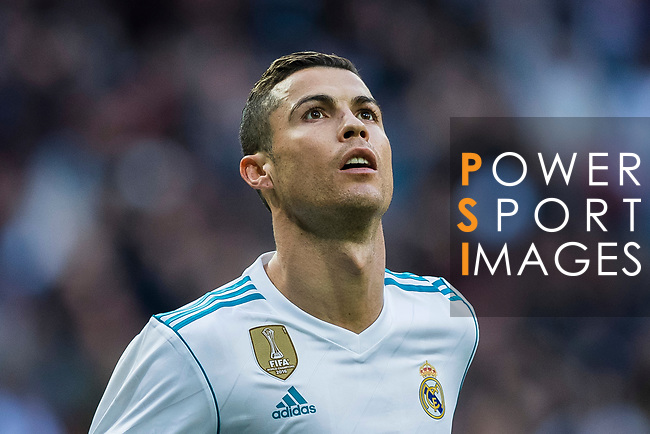 Cristiano Ronaldo of Real Madrid celebrates during the La Liga 2017-18 match between Real Madrid and Sevilla FC at Santiago Bernabeu Stadium on 09 December 2017 in Madrid, Spain. Photo by Diego Souto / Power Sport Images