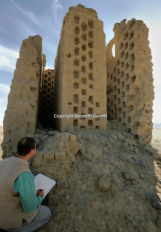 Ain Dabashiya; Pigeon house, Roman fort; trade route; Darb el-Arbaein; Egypt; Archaeologist; Salima Ikram; Kharga Oasis;Ancient Cultures; mm7195; Desert; Oasis, Nicholas Warner examines pigeon house