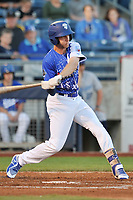 Tulsa Drillers center fielder Logan Landon (18) swings at a pitch against the Corpus Christi Hooks at Oneok Stadium on May 4, 2019 in Tulsa, Oklahoma.  The Hooks won 9-7.  (Dennis Hubbard/Four Seam Images)