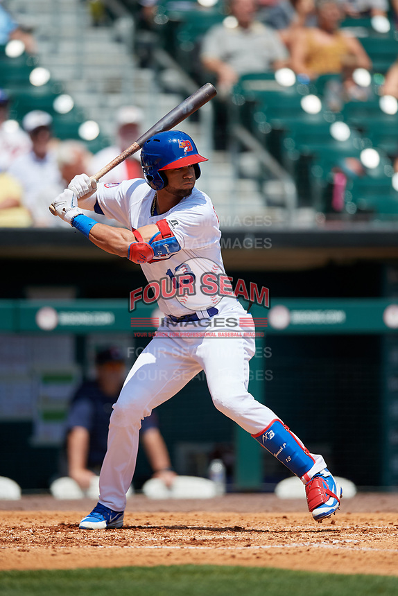 Buffalo Bisons designated hitter Lourdes Gurriel Jr. (13) at bat during a game against the Pawtucket Red Sox on June 28, 2018 at Coca-Cola Field in Buffalo, New York.  Buffalo defeated Pawtucket 8-1.  (Mike Janes/Four Seam Images)