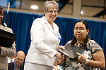 Sue Luther presents Prosperity Bank Award to Silbia Cruz at the 2011 Aldine Scholarship Foundation Scholarship Ceremony at Lone Star College - North Harris.